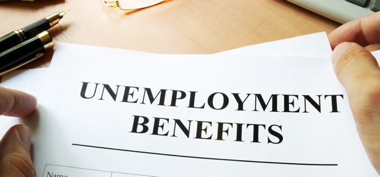 Unemployment benefits form on a table