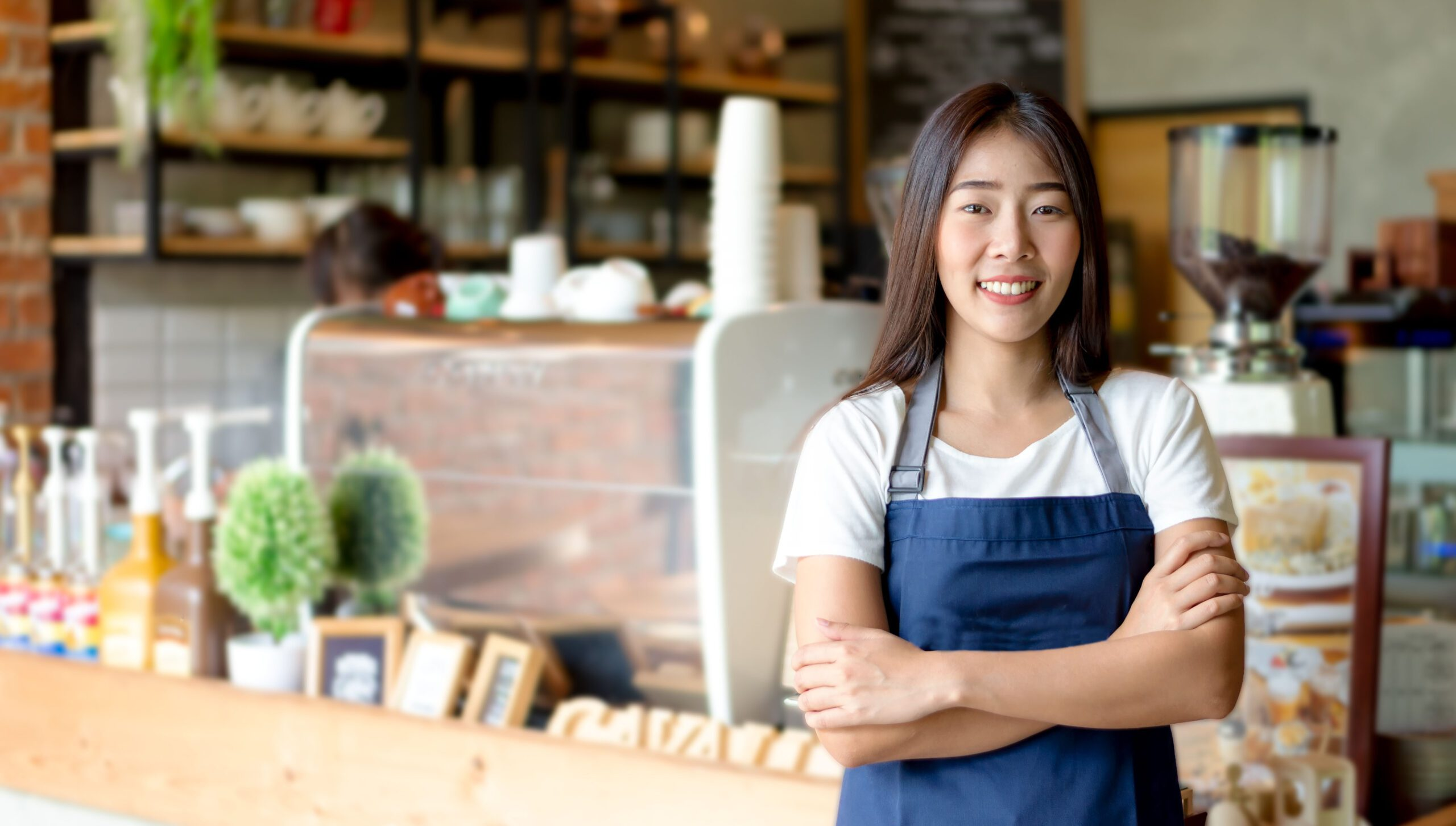 small-business owner in coffee shop